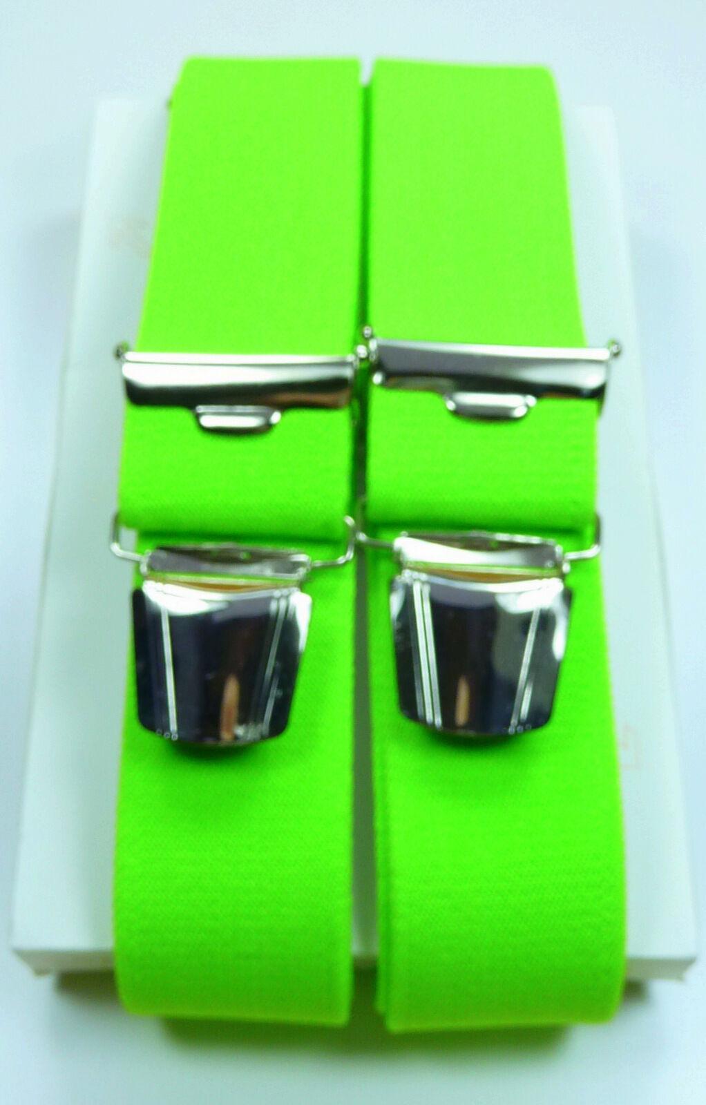 robuste Hosenträger,neon-grün starke,stabile solide Klips,35mm breit,120cm lang