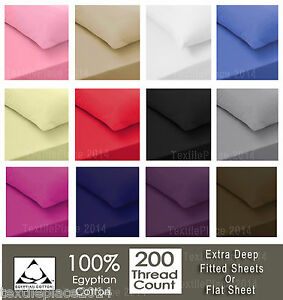 Luxury-100-Egyptian-Cotton-Fitted-Sheets-Flat-Sheet-200TC-Single-Double-King