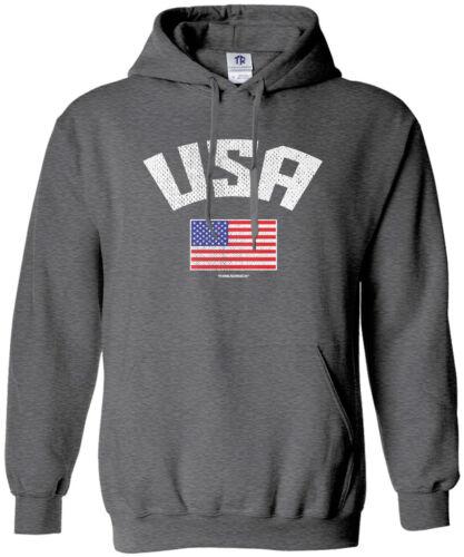 Threadrock Men/'s USA American Flag Hoodie Sweatshirt Pride United States