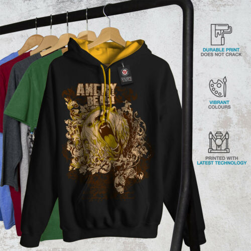 Hoodie Angry gold Hood Bear Men Black Wild Animal Contrast New 1Sqap1