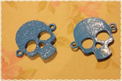Humor 2 Pz Charm Con Teschio Ciondolo Con 2 Anellini Colore Blu 3x3,3cm 100% Original Other Fashion Jewelry Fashion Jewelry