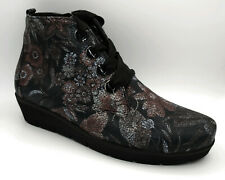 Waldläufer Damen Schuhe Stiefeletten Stiefel Floral schwarz