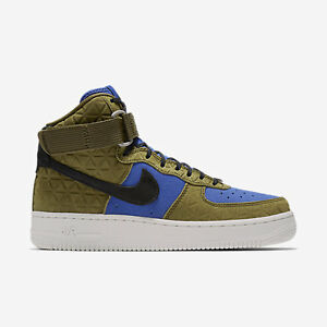 Detalles acerca de 845065-300 Para Mujer Nike Air Force 1 Hi PRM Zapato De  Gamuza!!! Olv FLK/Negro/mdnght ojotas!- mostrar título original