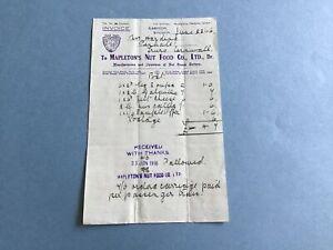 Mapleton's Nut Food Co Ltd 1916 Nut Cream Butters Liverpool  receipt R34957