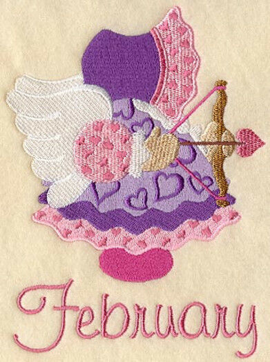 SUNBONNET SUE FEBRUARY -MACHINE EMBROIDERED QUILT BLOCK