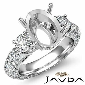 3-Stone-Diamond-Engagement-Eternity-Ring-18k-White-Gold-Oval-Semi-Mount-2-8Ct