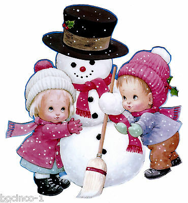 """5.5/"""" Precious moments snowman bear christmas holiday window cling decal cut out"""