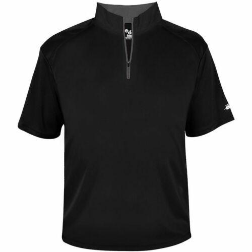 Badger Men/'s B-Core Short Sleeve 1//4 Zip Pullover