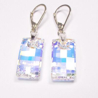 Damen Ohrringe 925 Sterling Silber Swarovski Kristalle 20 mm Hänger Klar Weiß