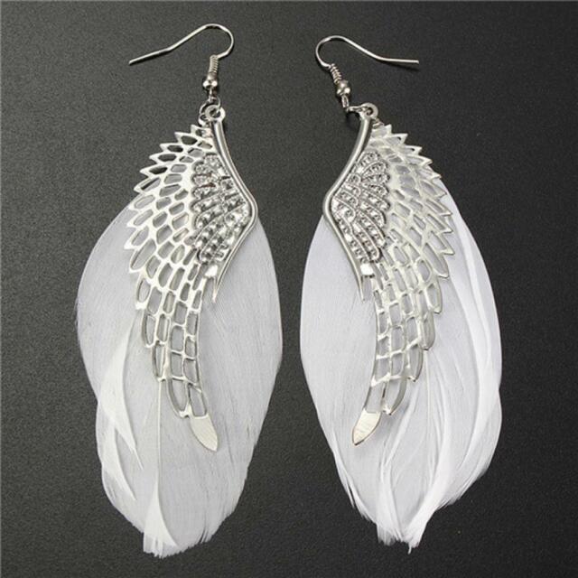 Silver Hook Women's Fashion Dangle Angel Wings Earrings Jewelry Feather