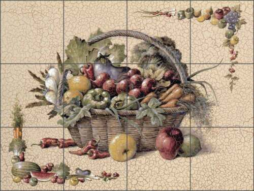 Ceramic Tile Mural Backsplash Chiu Kitchen Fruit Vegetable Art EC-TC006