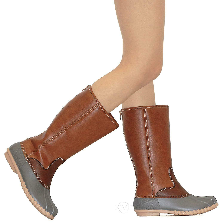 MVE shoes Women's Two-Tone Insulated High High High Duck Rain Waterproof Boots c9d945