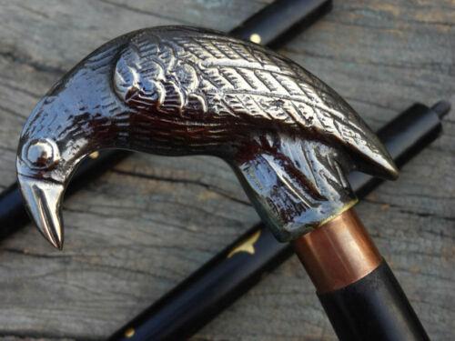 Brass Antique Eagle Head Handle Designer Cane Vintage Wooden Walking Stick Gift