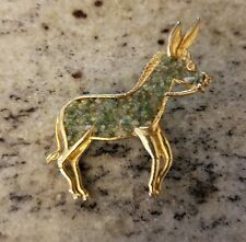 Horse Donkey Brooch Pin Gold Tone green Stone/Pebbles Not Signed Unique Jewelry
