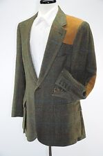 Willis & Geiger Wool Tweed Leather Patches Half Norfolk Shooting Coat USA 42L