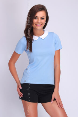 Womens Collared Formal Top Short Sleeve Polo T-Shirt Size 8 10 12 14 FA407