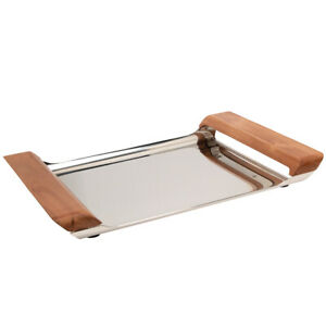"""Stainless Steel Serving Tray Wood Handles 18"""" Large Party Appetizer MCM Danish"""