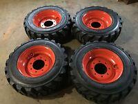 4 10-16.5 Deestone Skid Steer Tires & Wheels/rims For Bobcat -10 Ply-10x16.5