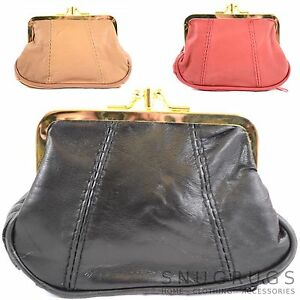 Womens Super Soft Nappa Leather Double Clip Frame Purse Coin Holder Ladies