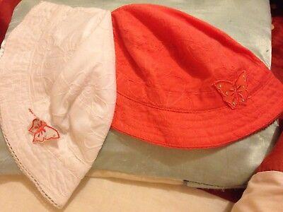 2 Girl's Sun Cappelli. Età 2-4 Anni. Nuovo-mostra Il Titolo Originale Fornitura Sufficiente