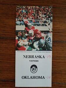 nebraska football 1978 roster program versus oklahoma rare vintage