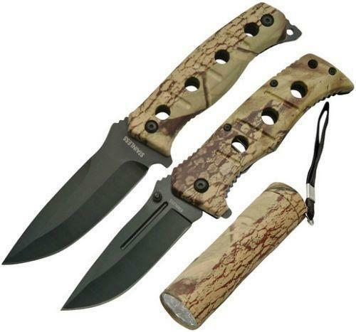 New China Made Fixed Blade Knife Camo Hunter Set CN211202 mtech style