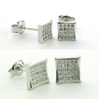 Sterling Silver Kite Micro Fave Earrings-micro Pavestud- Solid(-(5.5 Mm/8 Mm