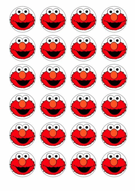 24 X Elmo Faces Sesame Street Wafer Rice Paper Cupcake Toppers Edible Cake