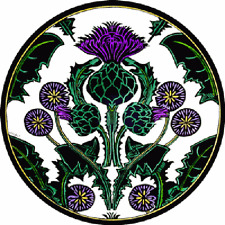 STAINED GLASS WINDOW ART - STATIC CLING  DECORATION - THISTLE NOUVEAU