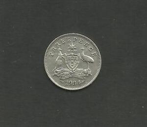 AUSTRALIA-1934-33-OVERDATE-KING-GEORGE-V-SILVER-THREEPENCE-COIN-VF-RARE