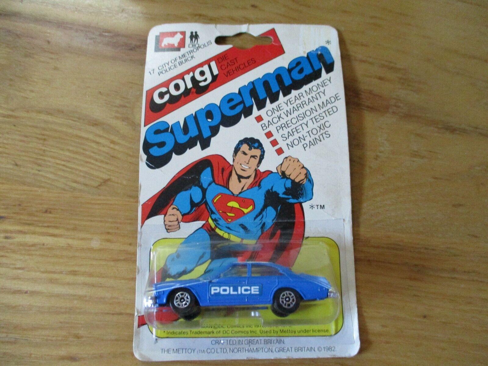 Muy raros-Corgi  Superman  ciudad de Metrópolis policía policía coche Buick