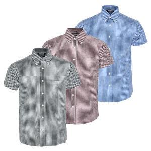 Relco Men/'s Black Gingham Short Sleeved Button Down Collar Mod Skinhead Shirt