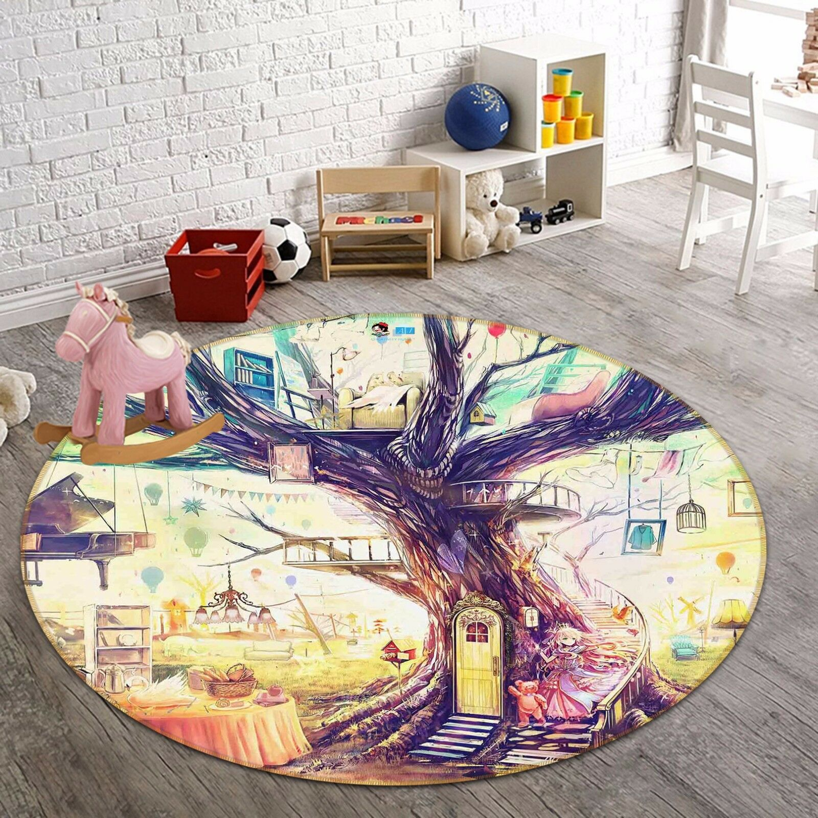 3D Fairy Tale Hut 6 Non Slip Rug Mat Room Mat Round Quality Elegant Photo Carpet