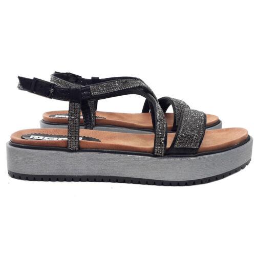 Sandals Blacks Comfortable Band with Rhinestone - GC4172 Black