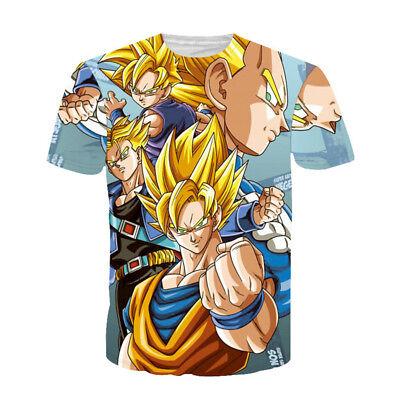 New Women Men Funny Anime Goku Print Casual 3D T-Shirt Short Sleeve Tops Tee