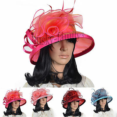 elegant women Kentucky church wedding derby hat swirl floral wide down sun Hat