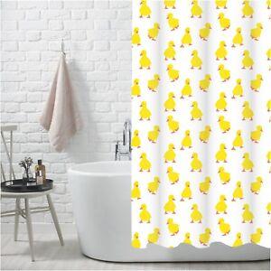 Yellow-Duck-Duckling-Pattern-100-Polyester-Shower-Curtain-Showerdrape