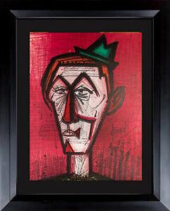 Bernard-BUFFET-Original-LITHOGRAPH-Ltd-EDITION-034-The-Clown-on-Red-034-w-Frame