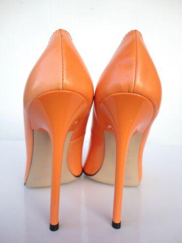 Giohel Schuhe 42 Toe Heels Leather Neuf Pointu Escarpins Orange Éscarpins Italy rPrqU