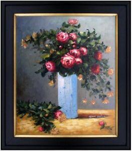 Framed-Oil-Painting-Repro-Renoir-Pierre-Auguste-Roses-amp-Jasmine-in-Vase-20x24in