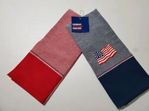 KITCHEN-TOWELS-CELEBRATE-AMERICANA-TOGETHER-NWT-26-034-13-034-100-COTTON