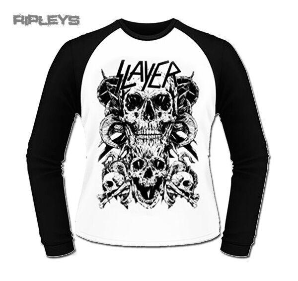 Official T Shirt SLAYER Metal   Skull Baseball Long Sleeve All Sizes