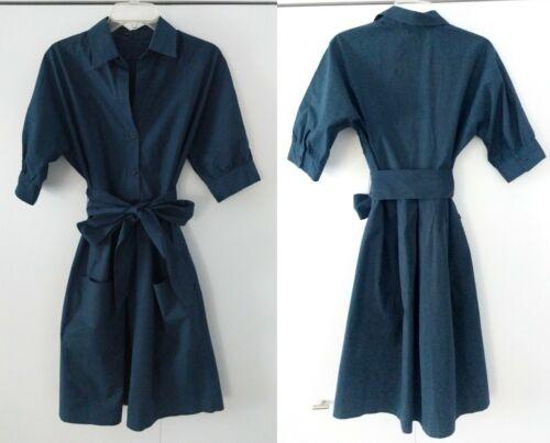 Theory teal stripe cotton blend shirt dress