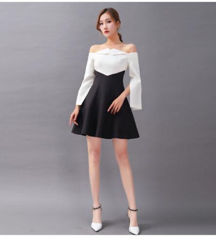 Damenmode 2019 Hohe Taille schlank Zurück öffnen One-Schulter Rüschen Kleider