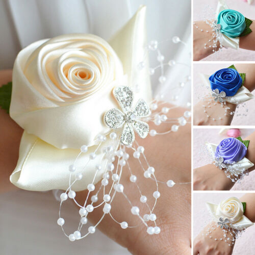 Bridesmaid Wedding Decor Bracelet Pearls Rose Tulle Band Hand Wrist Flower