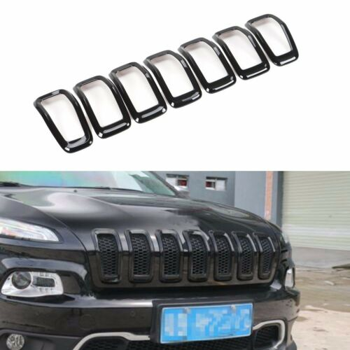 For Jeep Cherokee 2014-2017 Black Front Grille Insert Grill Trim Frame 7pcs