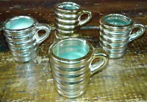 Set of 4 Shot Glasses Gold Glass Whiskey Cups Ringed Pattern Barware