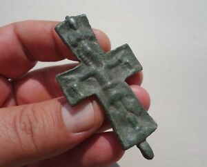 ancient-late-Roman-Byzantine-bronze-cross-displayed-a-Jesus-in-crucified