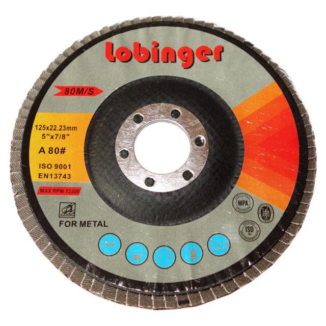 50x Lobinger 115mm Disque à Lamelles Meule Abrasive Grain 80 Rondelles Dentées
