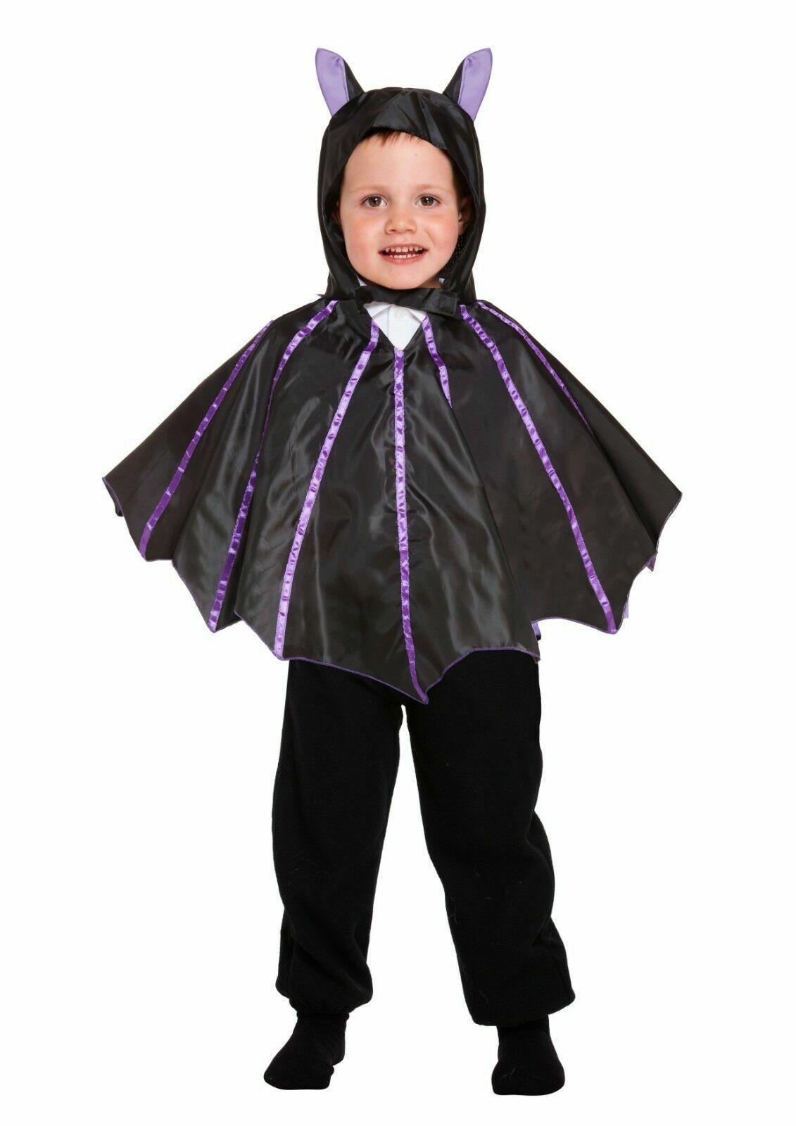 BAT WINGS CAPE Black Vampire Girls Boys Halloween Fancy Dress Kids Costume 3Y UK